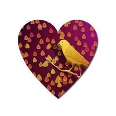 Bird Design Wall Golden Color Heart Magnet by Simbadda