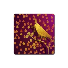 Bird Design Wall Golden Color Square Magnet by Simbadda