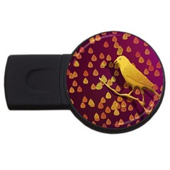Bird Design Wall Golden Color Usb Flash Drive Round (2 Gb) by Simbadda