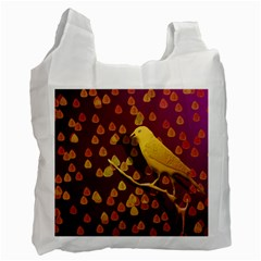 Bird Design Wall Golden Color Recycle Bag (one Side) by Simbadda