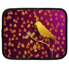 Bird Design Wall Golden Color Netbook Case (xl)  by Simbadda