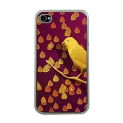 Bird Design Wall Golden Color Apple Iphone 4 Case (clear) by Simbadda
