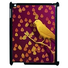 Bird Design Wall Golden Color Apple Ipad 2 Case (black) by Simbadda