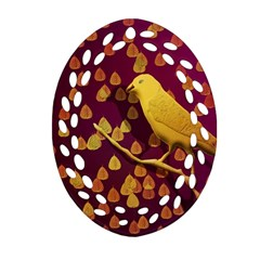 Bird Design Wall Golden Color Oval Filigree Ornament (two Sides) by Simbadda