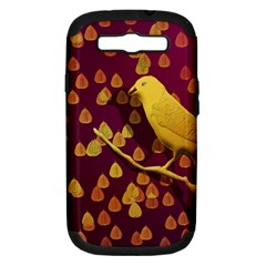 Bird Design Wall Golden Color Samsung Galaxy S Iii Hardshell Case (pc+silicone) by Simbadda