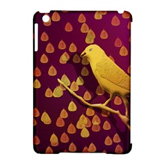 Bird Design Wall Golden Color Apple Ipad Mini Hardshell Case (compatible With Smart Cover) by Simbadda