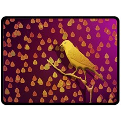 Bird Design Wall Golden Color Double Sided Fleece Blanket (large)  by Simbadda