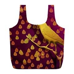 Bird Design Wall Golden Color Full Print Recycle Bags (l)  by Simbadda