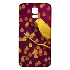 Bird Design Wall Golden Color Samsung Galaxy S5 Back Case (white) by Simbadda