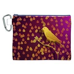 Bird Design Wall Golden Color Canvas Cosmetic Bag (xxl) by Simbadda