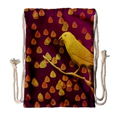 Bird Design Wall Golden Color Drawstring Bag (large) by Simbadda