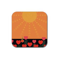 Love Heart Valentine Sun Flowers Rubber Square Coaster (4 Pack)  by Simbadda