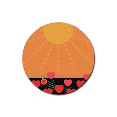 Love Heart Valentine Sun Flowers Rubber Coaster (round)  by Simbadda
