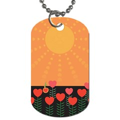 Love Heart Valentine Sun Flowers Dog Tag (one Side) by Simbadda
