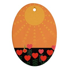 Love Heart Valentine Sun Flowers Oval Ornament (two Sides) by Simbadda