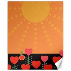 Love Heart Valentine Sun Flowers Canvas 11  X 14   by Simbadda
