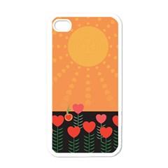 Love Heart Valentine Sun Flowers Apple Iphone 4 Case (white) by Simbadda