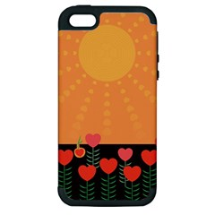 Love Heart Valentine Sun Flowers Apple Iphone 5 Hardshell Case (pc+silicone) by Simbadda