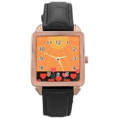 Love Heart Valentine Sun Flowers Rose Gold Leather Watch