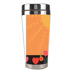 Love Heart Valentine Sun Flowers Stainless Steel Travel Tumblers by Simbadda