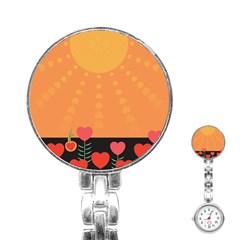 Love Heart Valentine Sun Flowers Stainless Steel Nurses Watch by Simbadda