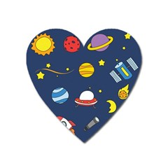 Space Background Design Heart Magnet by Simbadda