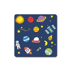 Space Background Design Square Magnet by Simbadda