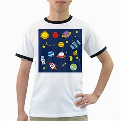 Space Background Design Ringer T Shirts by Simbadda