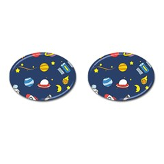 Space Background Design Cufflinks (oval) by Simbadda