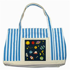 Space Background Design Striped Blue Tote Bag by Simbadda
