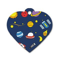 Space Background Design Dog Tag Heart (two Sides) by Simbadda