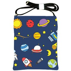 Space Background Design Shoulder Sling Bags by Simbadda