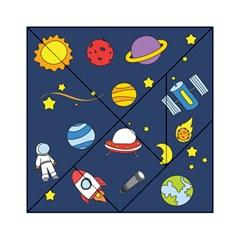 Space Background Design Acrylic Tangram Puzzle (6  X 6 ) by Simbadda