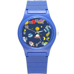 Space Background Design Round Plastic Sport Watch (s) by Simbadda