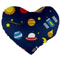 Space Background Design Large 19  Premium Heart Shape Cushions by Simbadda