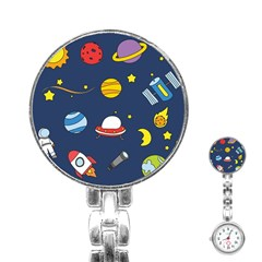 Space Background Design Stainless Steel Nurses Watch by Simbadda