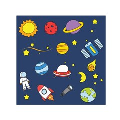 Space Background Design Small Satin Scarf (square) by Simbadda
