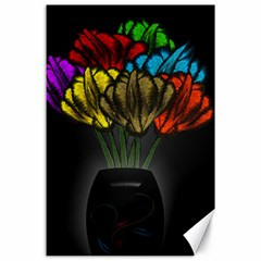 Flowers Painting Still Life Plant Canvas 24  X 36  by Simbadda