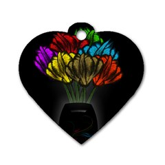 Flowers Painting Still Life Plant Dog Tag Heart (one Side) by Simbadda