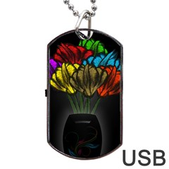 Flowers Painting Still Life Plant Dog Tag Usb Flash (two Sides) by Simbadda