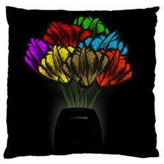 Flowers Painting Still Life Plant Large Flano Cushion Case (two Sides) by Simbadda