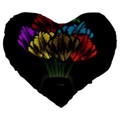 Flowers Painting Still Life Plant Large 19  Premium Flano Heart Shape Cushions by Simbadda