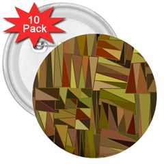 Earth Tones Geometric Shapes Unique 3  Buttons (10 Pack)  by Simbadda