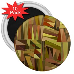 Earth Tones Geometric Shapes Unique 3  Magnets (10 Pack)  by Simbadda