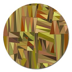 Earth Tones Geometric Shapes Unique Magnet 5  (round) by Simbadda