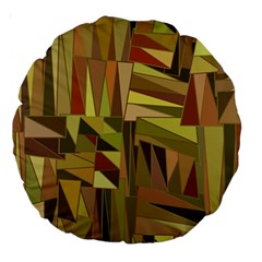 Earth Tones Geometric Shapes Unique Large 18  Premium Round Cushions by Simbadda