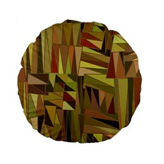 Earth Tones Geometric Shapes Unique Standard 15  Premium Flano Round Cushions by Simbadda