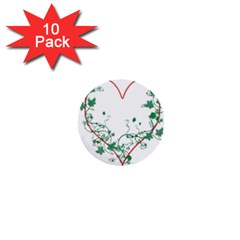 Heart Ranke Nature Romance Plant 1  Mini Buttons (10 Pack)  by Simbadda