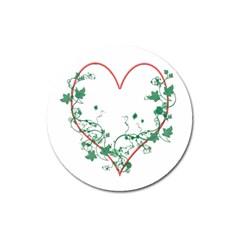 Heart Ranke Nature Romance Plant Magnet 3  (round) by Simbadda