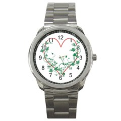Heart Ranke Nature Romance Plant Sport Metal Watch by Simbadda